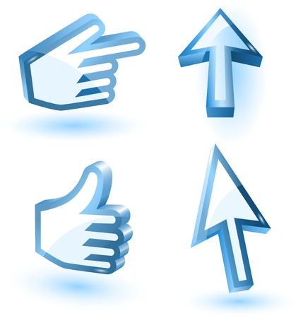 mouse cursor:  mouse arrow and hand pointers with shadow,3d,