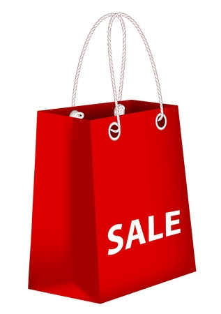 Red paper shopping bag with word sale Stock Vector - 15319845