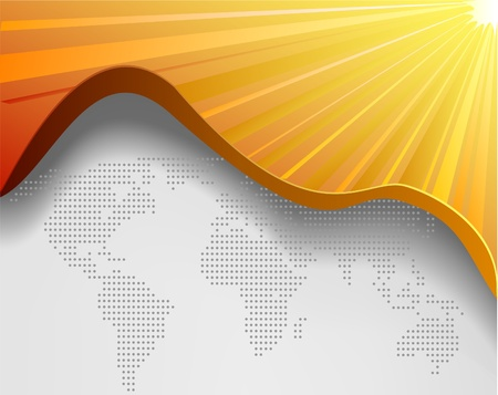 오렌지: 현대 웹 페이지 : 세계지도와 노란색 배경 일러스트