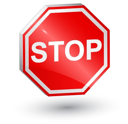 with stop sign: 3d, stop sign  Illustration