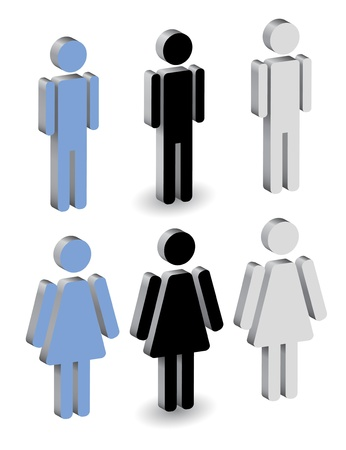 closet communication:  silhouettes of man and woman, 3d icon