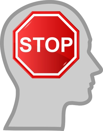 concept of men head with sign stop