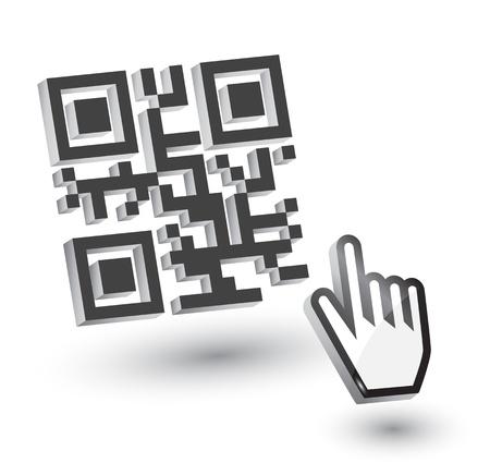 bar code: 3D QR Code with hand arrow
