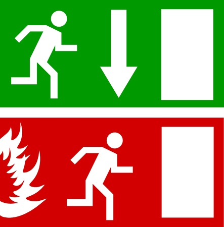 green exit emergency sign: Emergency fire exit door and exit door Illustration