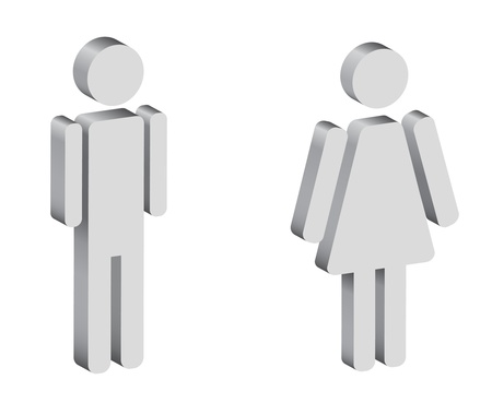 wc sign: black and white silhouettes of man and woman, 3d