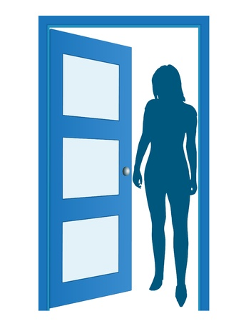 glass door: Blue opened door with woman Illustration