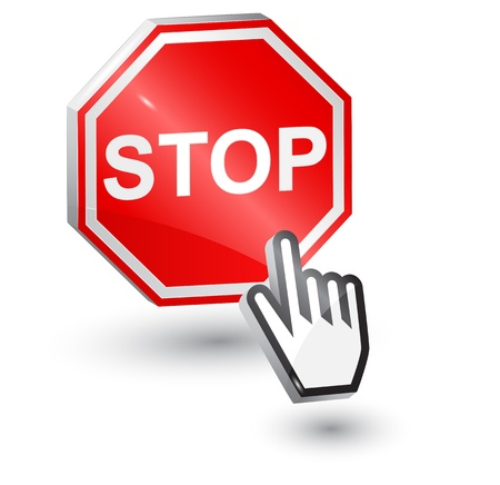 computer language: illustration of Stop sign, 3d, with mouse cursor hand
