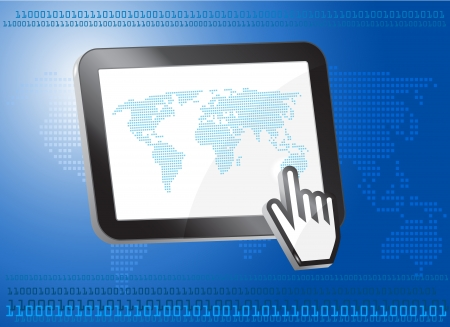palmtop: Tablet PC with world map, binary concept,3d Illustration