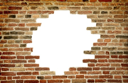 bric: Old brick wall with white hole in one, backgroud