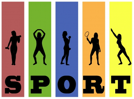 Fitness vector silhouettes on abstract background  Ilustracja