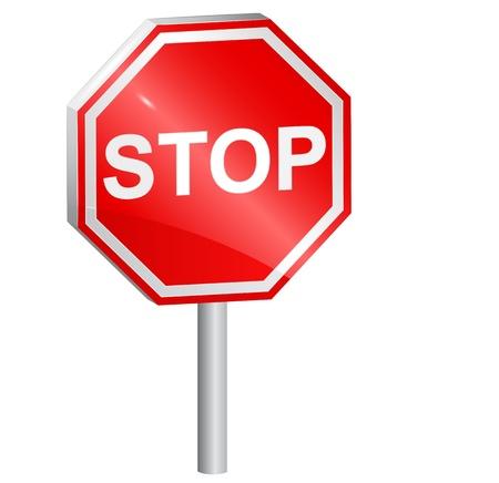 Vector illustratie van Stop teken, 3d.