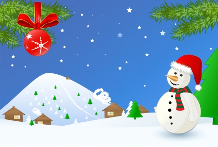 Christmas time- landscape with snowman Vector