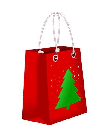 Red shopping bag with Xmas tree Vector