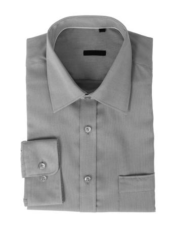 dry cleaned: Una camicia da uomo nuovo grigio � isolato su uno sfondo bianco Archivio Fotografico
