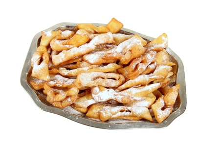 surfeit: Polish fried cakes are sweet crispy, made out of dough that has been shaped into thin twisted ribbons, deep-fried and sprinkled with powdered sugar