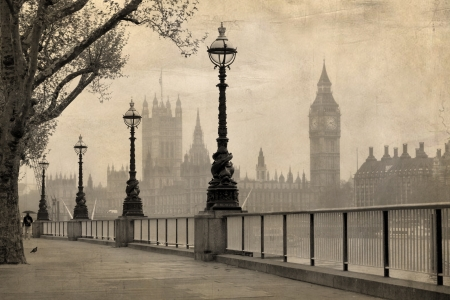 churchill: Vintage view of London,  Big Ben   Houses of Parliament Stock Photo