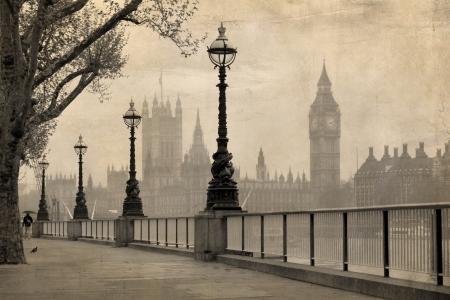 londre nuit: Vintage vue de Londres, Big Ben Maisons du Parlement Banque d'images