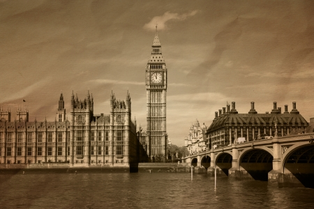 thames: Vintage view of London Editorial