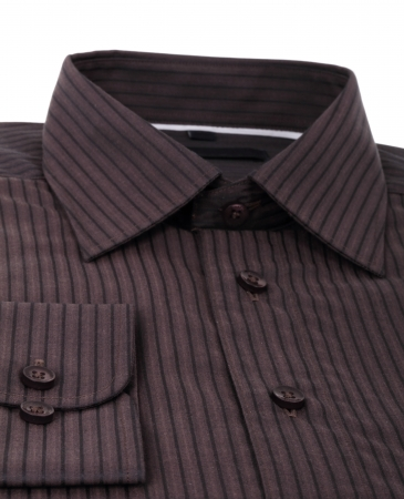 A new brown pinstriped dress shirt isolated over a white background photo