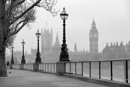 Big Ben   Houses of Parliament, black and white photo Stok Fotoğraf