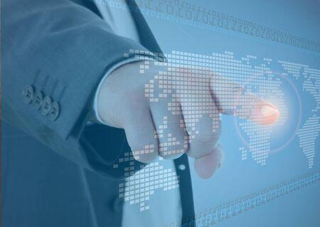 worldmap: Future business solutions businessman in interface