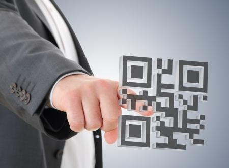 qr code: Man press on QR code