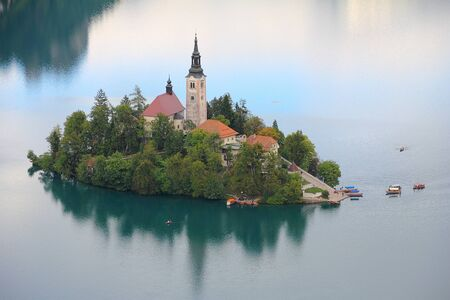 bled: Lake Bled, island with small church, Slovenia, Europe