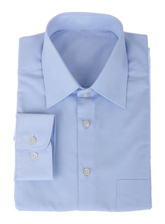 dry cleaned: camicia uomo nuovo blu isolato su uno sfondo bianco