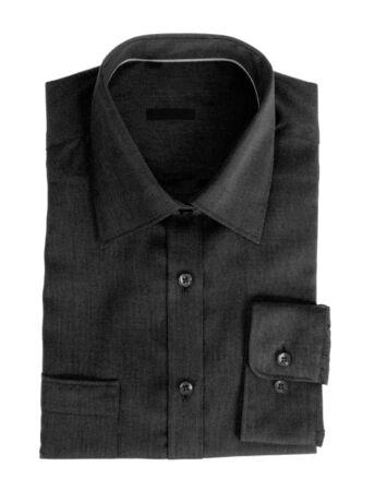 dry cleaned: Black cotton shirt for men over white