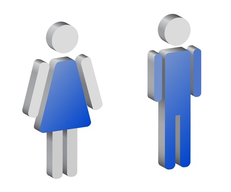 genders: silhouettes of man and woman, 3d, vector Illustration