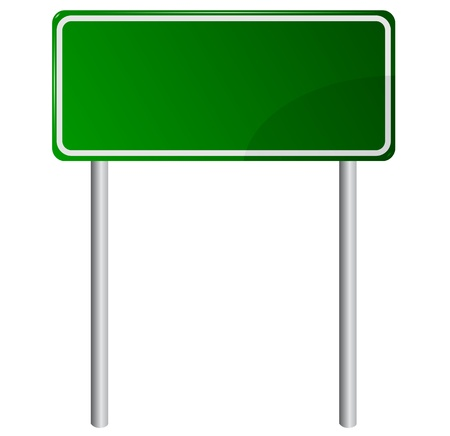 blank road sign: Blank Green Road Sign Illustration