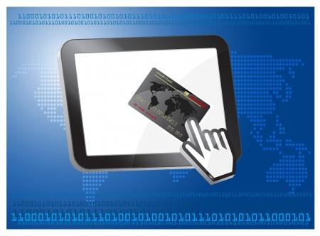 cashless: credit card vector with computer cursor, on tablet desktop, Internet cashless payment Illustration