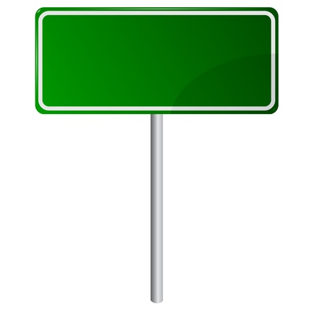 sign pole: Blank Green Road Sign Isolated on White