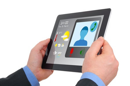 video conference: Businessman using tablet to video-conference, meet on-line, communicate  Stock Photo