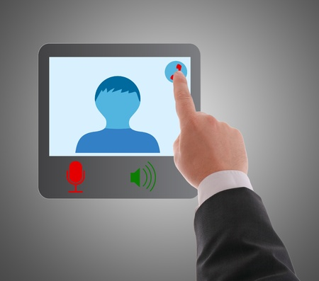 Man using digital interface to connecting video chat , video conference photo