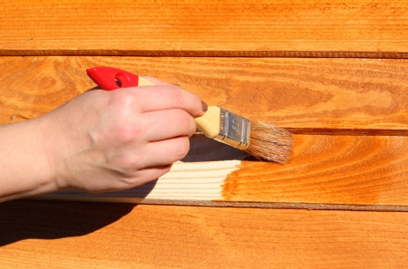 hand with paintbrush on wood Stockfoto