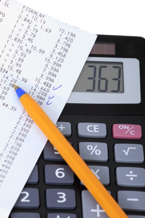 cash receipt: Bill and calculator, controlling household expenses