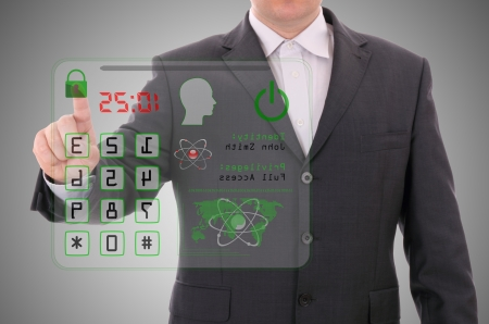 transparent system: Man pressing the access card, security data concept