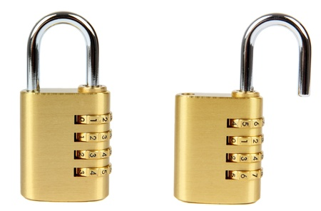 combination: padlock with combination lock, in two position, locked and unlocked  Isolated on white background