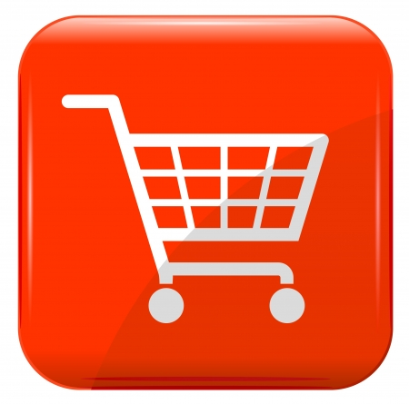e cart: Shopping basket sign on red button