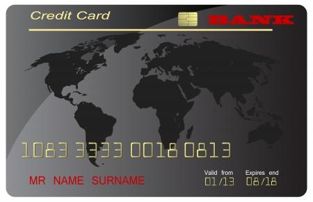 international bank account number: Black credit card,  vector Illustration