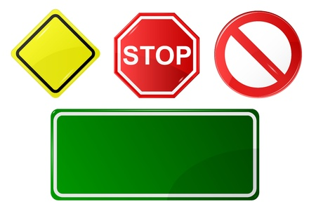 blank road sign: basic set of road signs Illustration