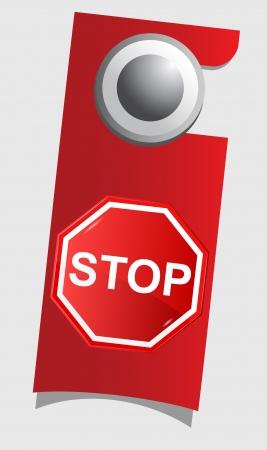 door knob: Handle door with stop sign , vector Illustration