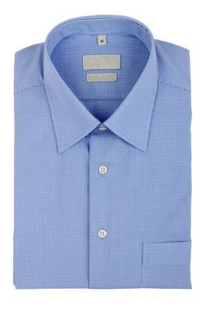 dry cleaned: camicia blu isolato su sfondo bianco