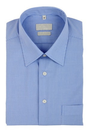 camisa: camisa azul aislado sobre fondo blanco Foto de archivo