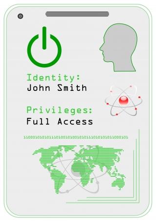 forbidden to pass: Identification card,  icon.  Illustration