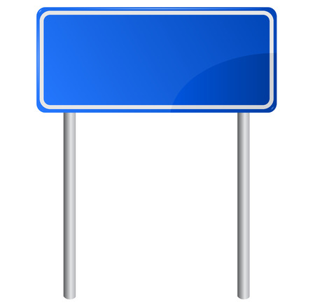 sign pole: Blank blue road information sign