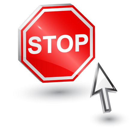 Stop sign and computer arrow mouse  Vector