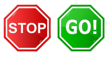 Ilustración vectorial de la señal de stop and Go