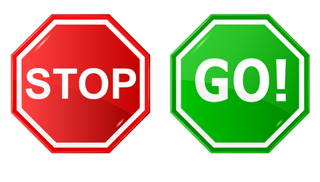 go green icons: Vector illustration of sign   Stop and Go  Illustration